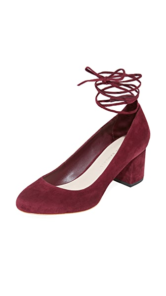 Loeffler Randall Clara Ankle Strap Low Heel Pumps - Wine