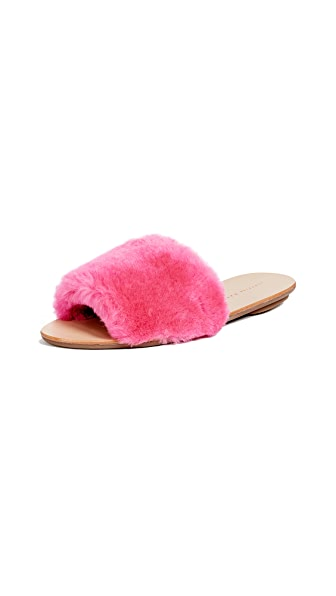 Isabel Faux-Fur Slide Sandals - Pink Size 6.5 in Peony