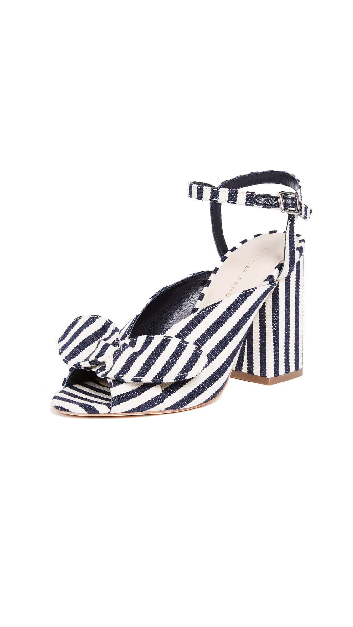 Loeffler Randall Leigh Bow Sandals - White/Eclipse Stripe