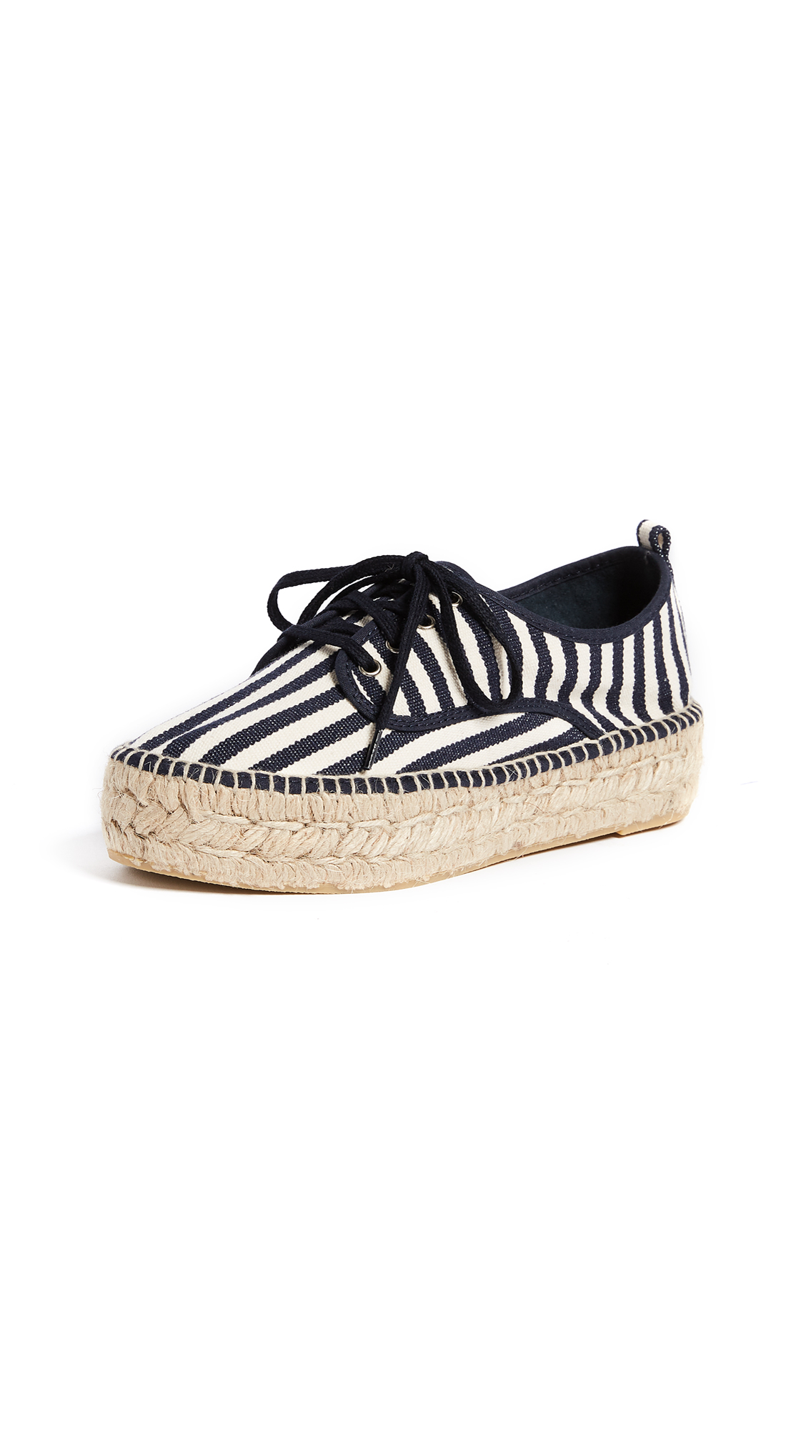 Loeffler Randall Alfie Espadrille Sneakers - White/Eclipse Stripe