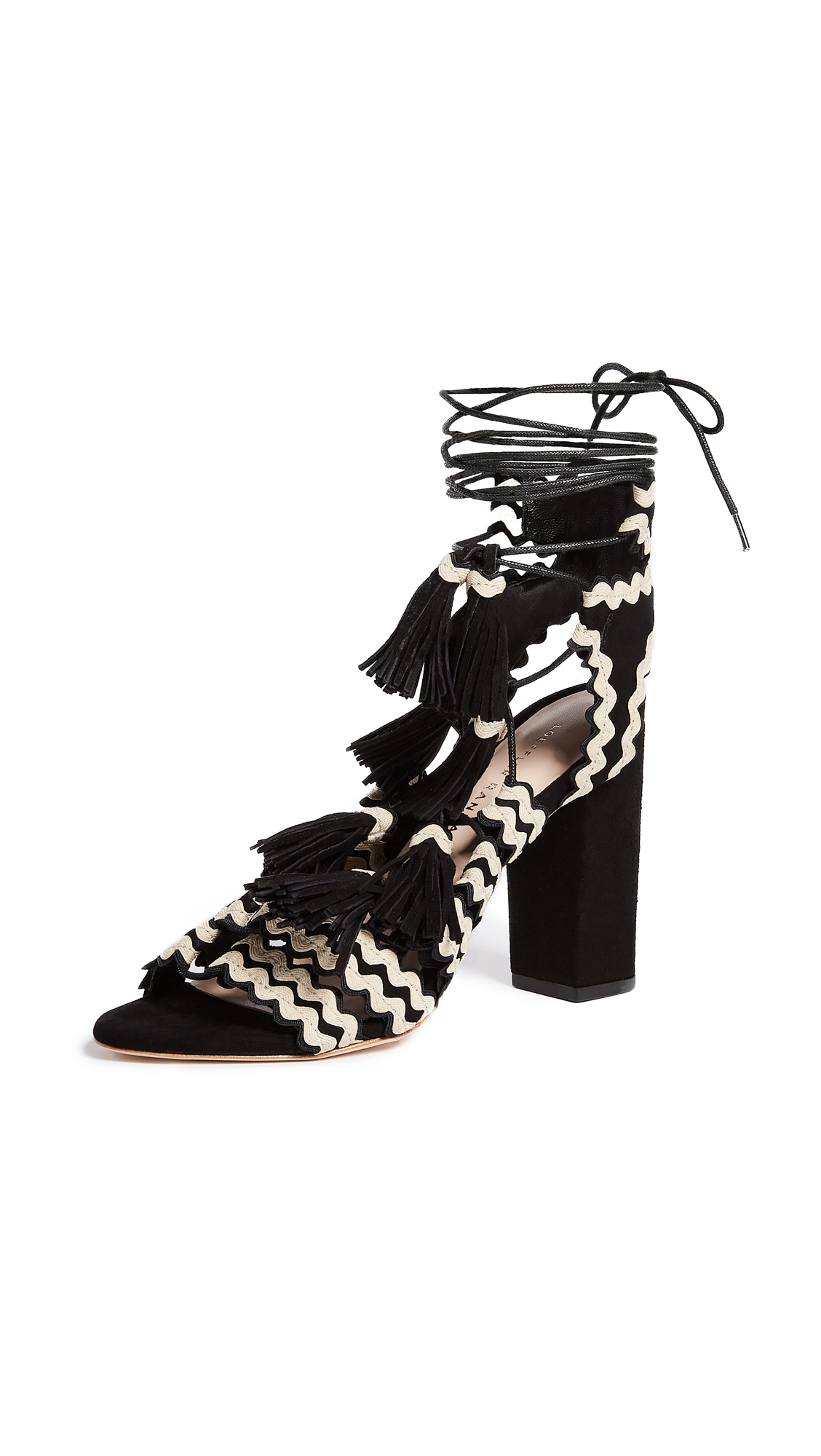 Loeffler Randall Luz Tassel Sandals - Black/Natural