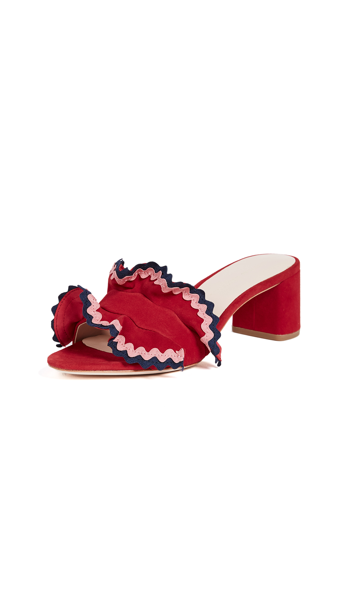 Loeffler Randall Vera City Slide Sandals - Bright Red/Multi