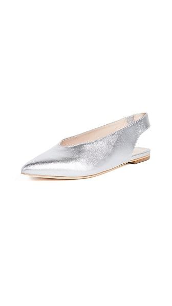 Loeffler Randall Eve Slingback Flats In Silver