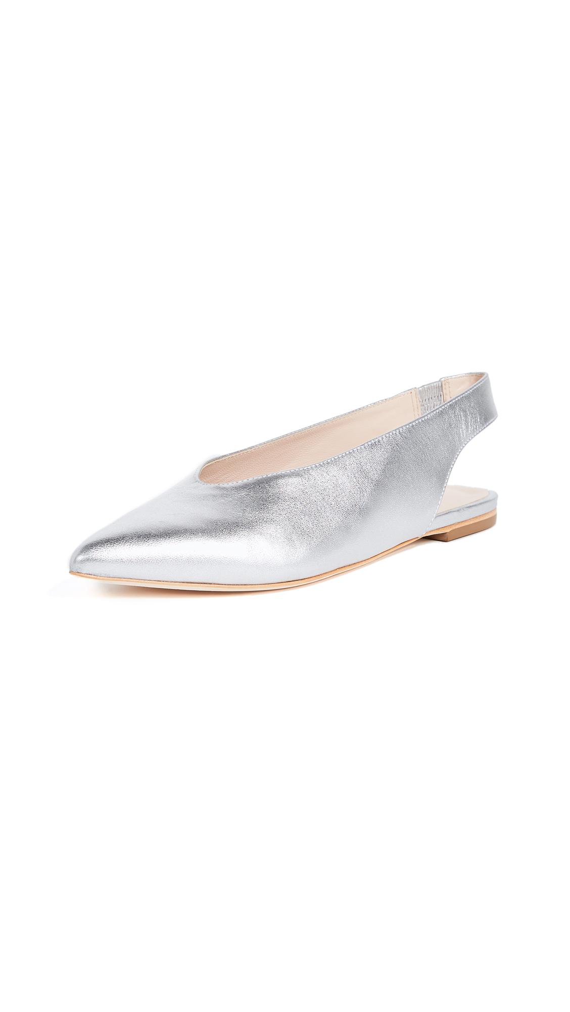 Loeffler Randall Eve Slingback Flats - Silver