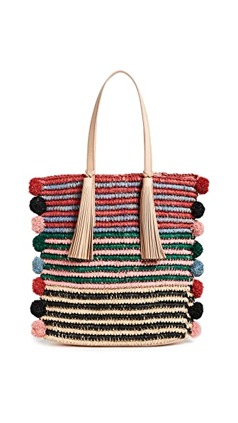 Loeffler Randall Cruise Tote With Poms In Rainbow