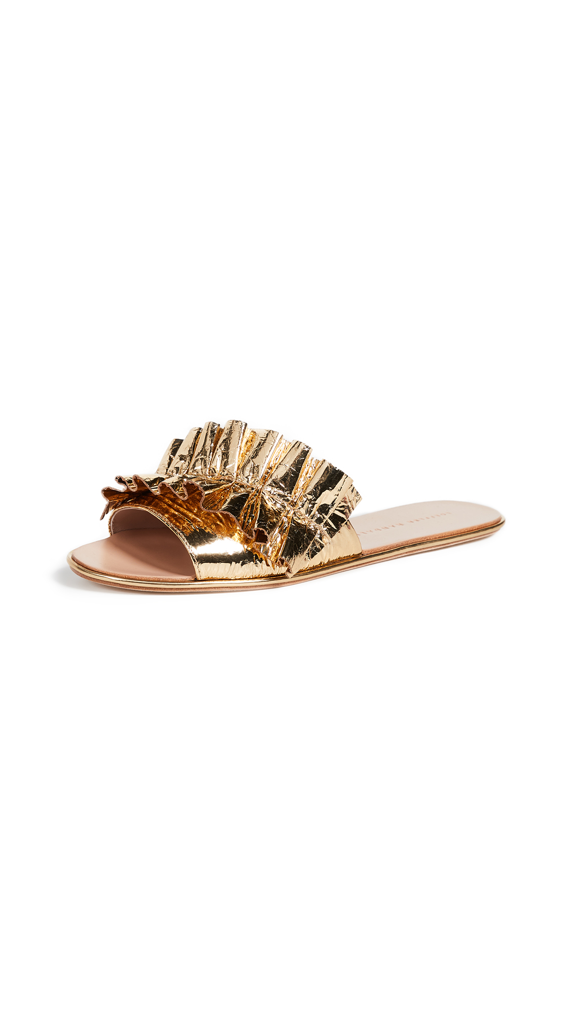 Loeffler Randall Rey Ruffle Slides - Gold