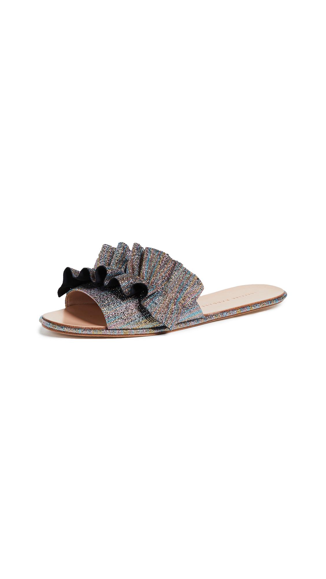 Loeffler Randall Rey Ruffle Slides - Rainbow