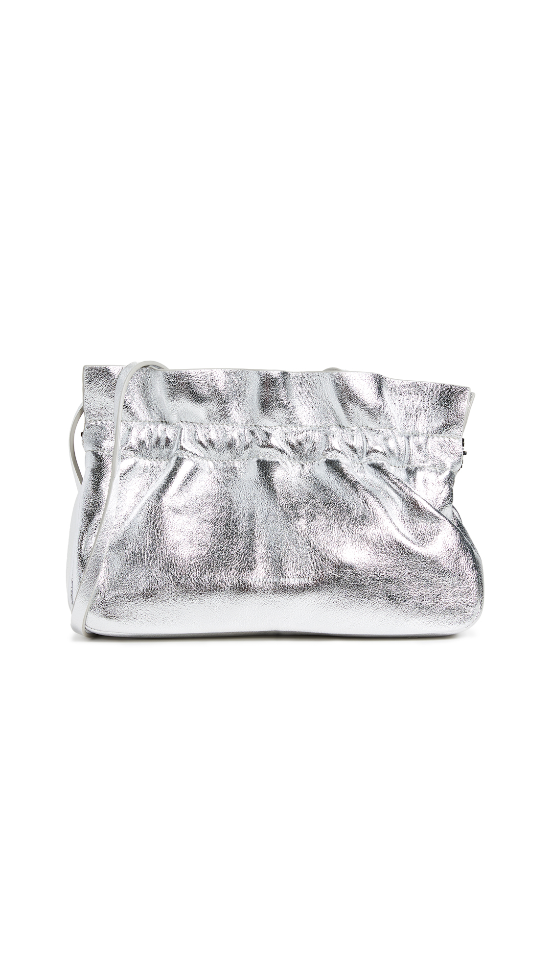 Carrie Metallic Ruffle Frame Clutch Bag, Silver
