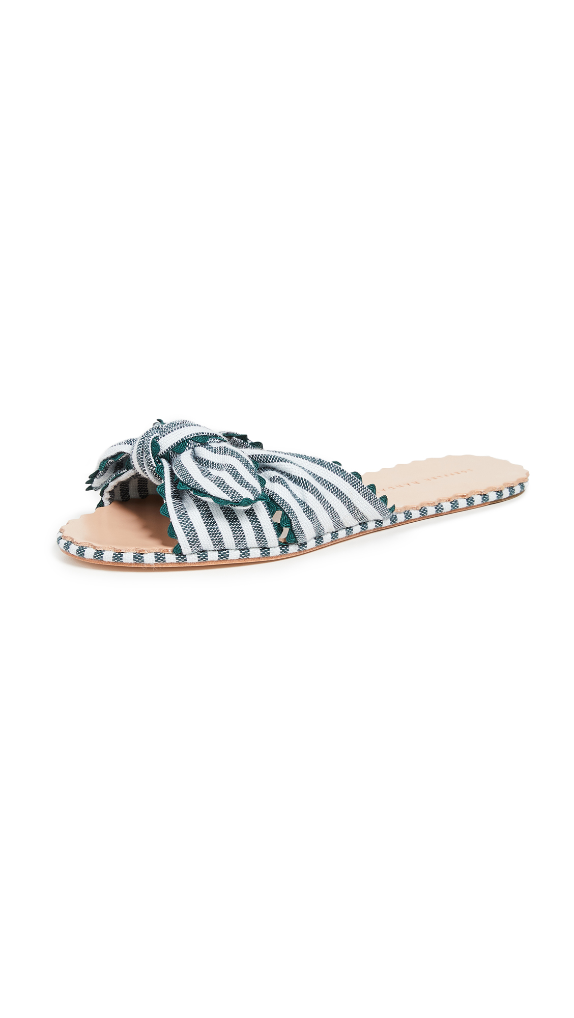 Loeffler Randall Shirley Knotted Rickrack Slides - Forest/Light Blue