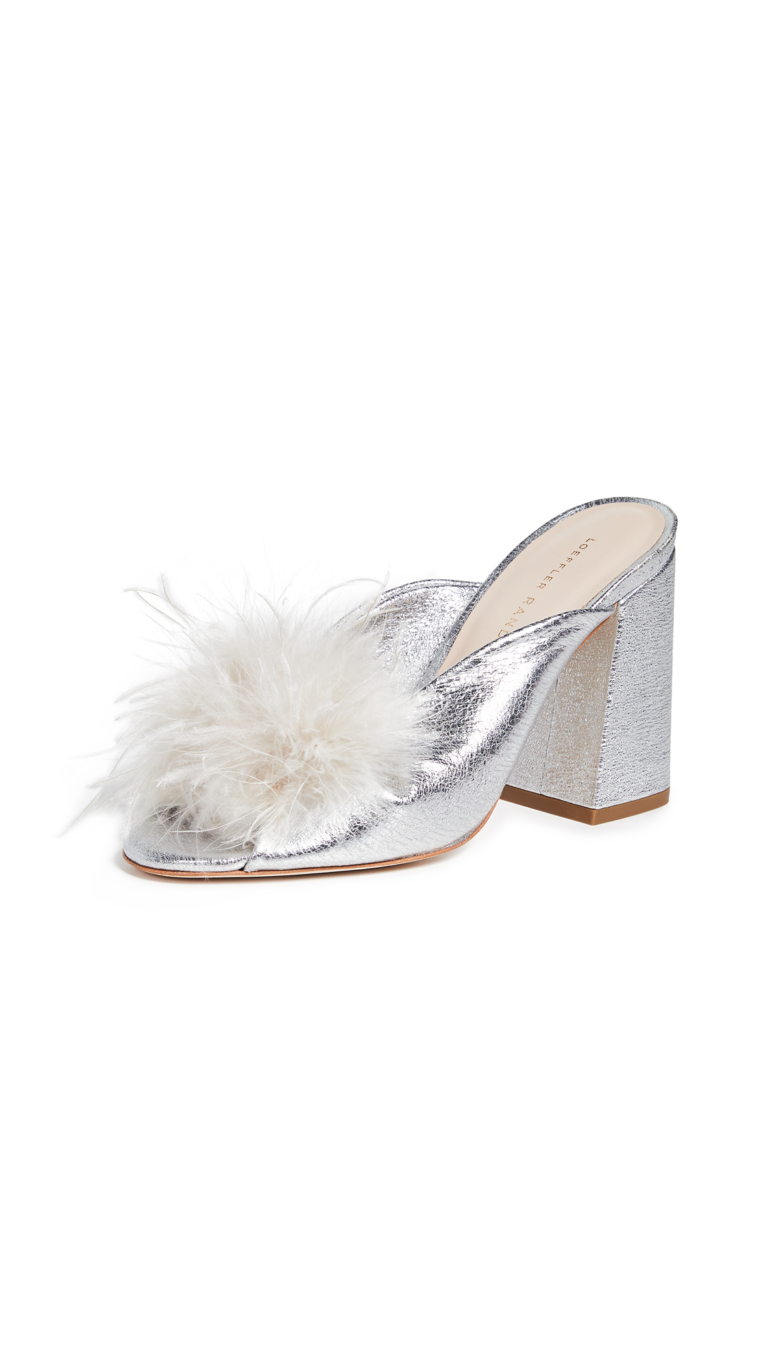 Loeffler Randall Laurel Twist Slides with Feathers - Silver/Light Grey