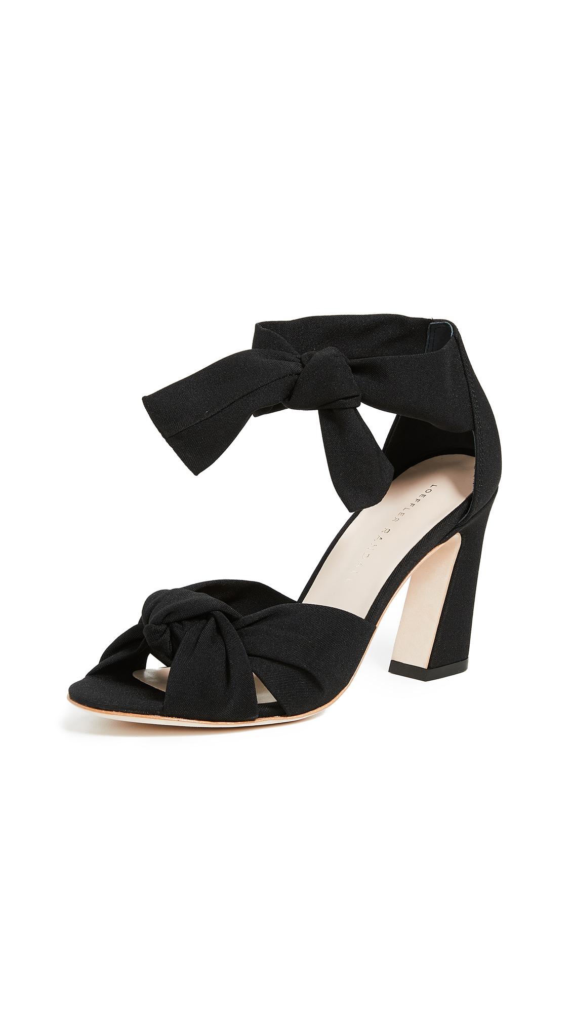Loeffler Randall Nan Ankle Tie Sandals - Black