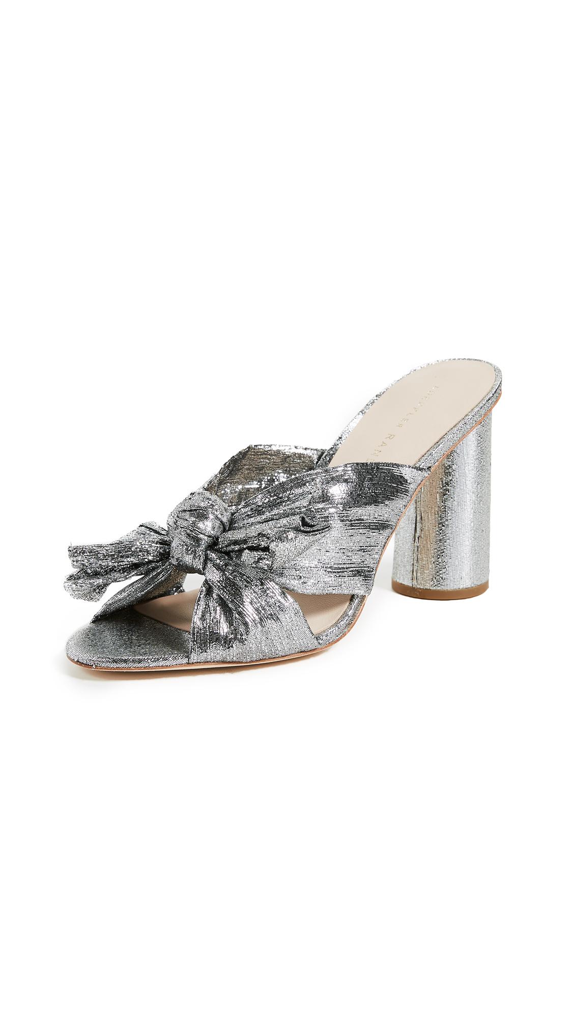 LOEFFLER RANDALL Penny Knot Strap Slide Sandals Silver