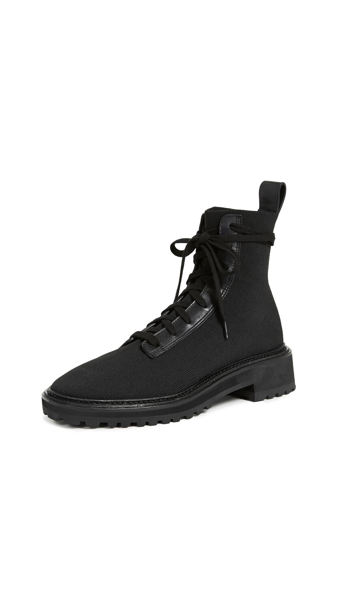 Loeffler Randall Brady Stretch Knit Combat Boots - Black