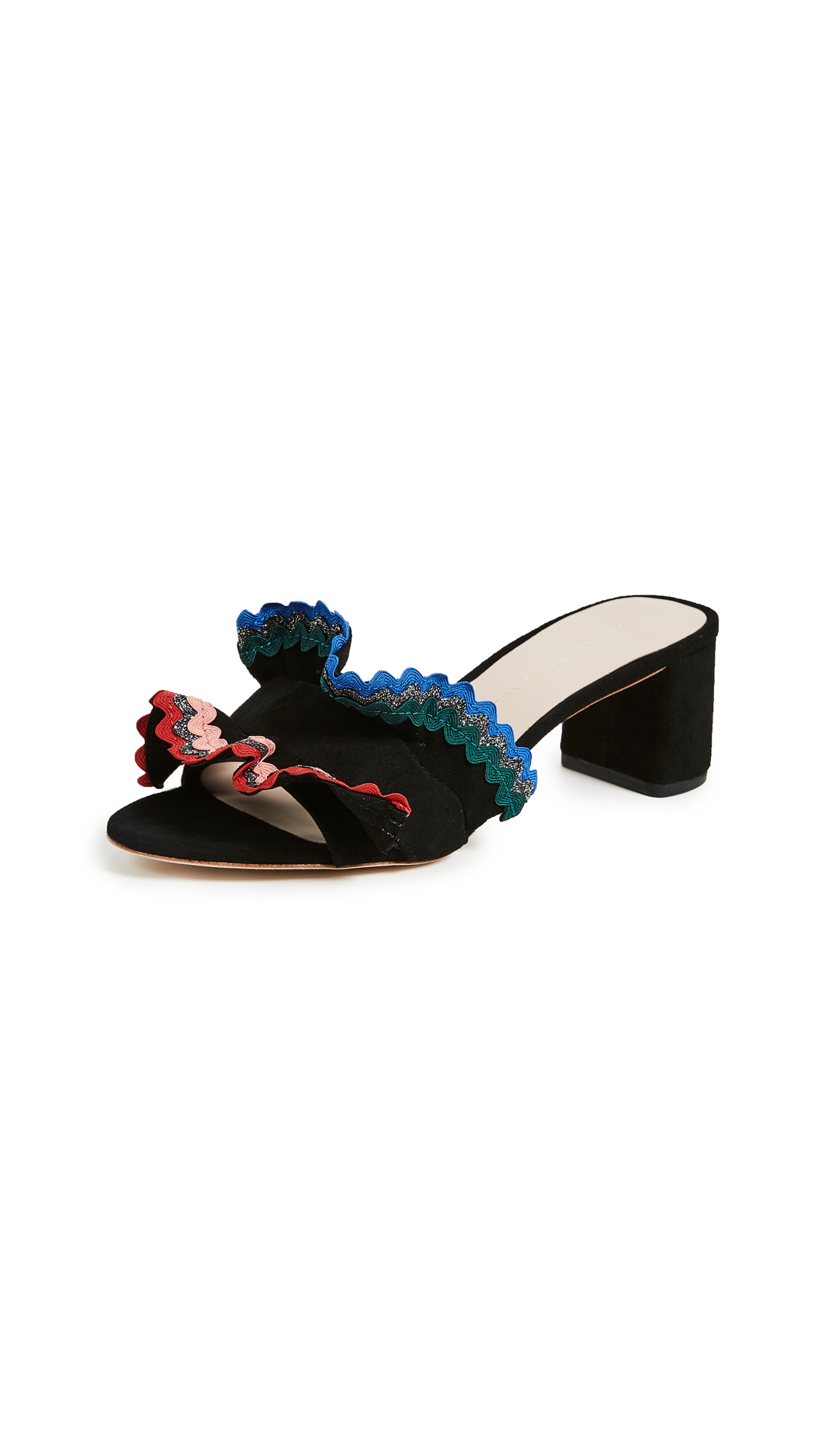 Loeffler Randall Vera City Slide Sandals - Black/Multi