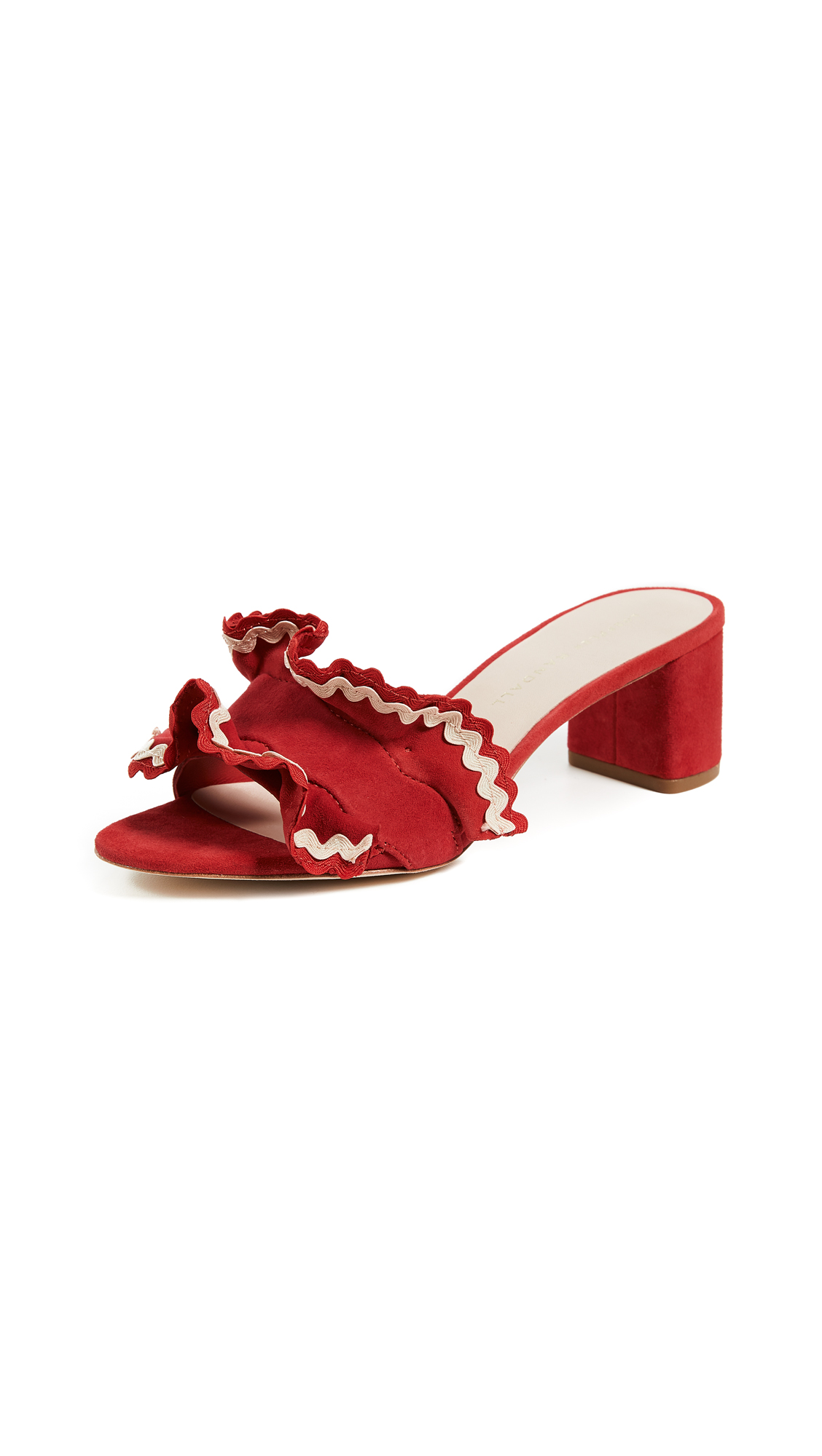 Loeffler Randall Vera City Slide Sandals - Bright Red/Natural Brina