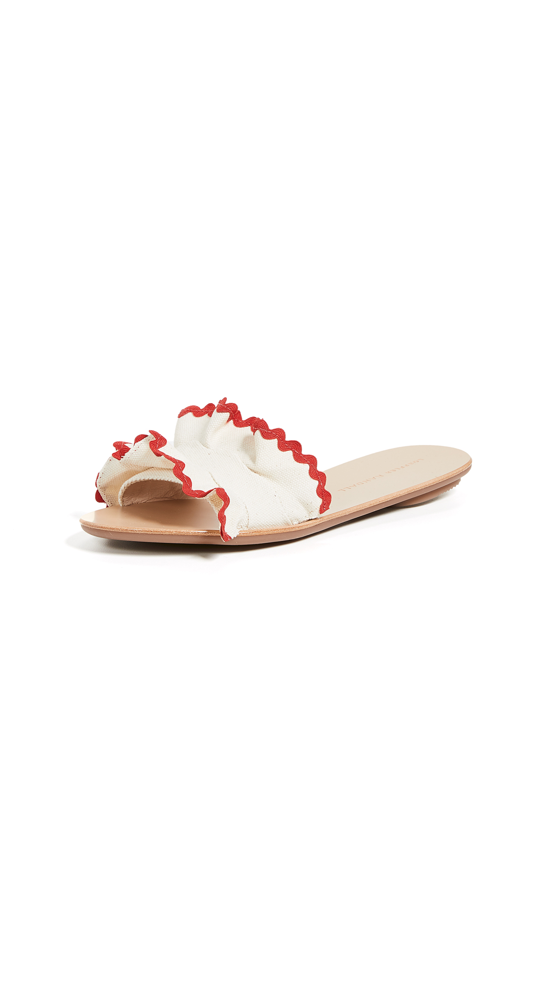 Loeffler Randall Birdie Ruffle Slides - Natural/Red