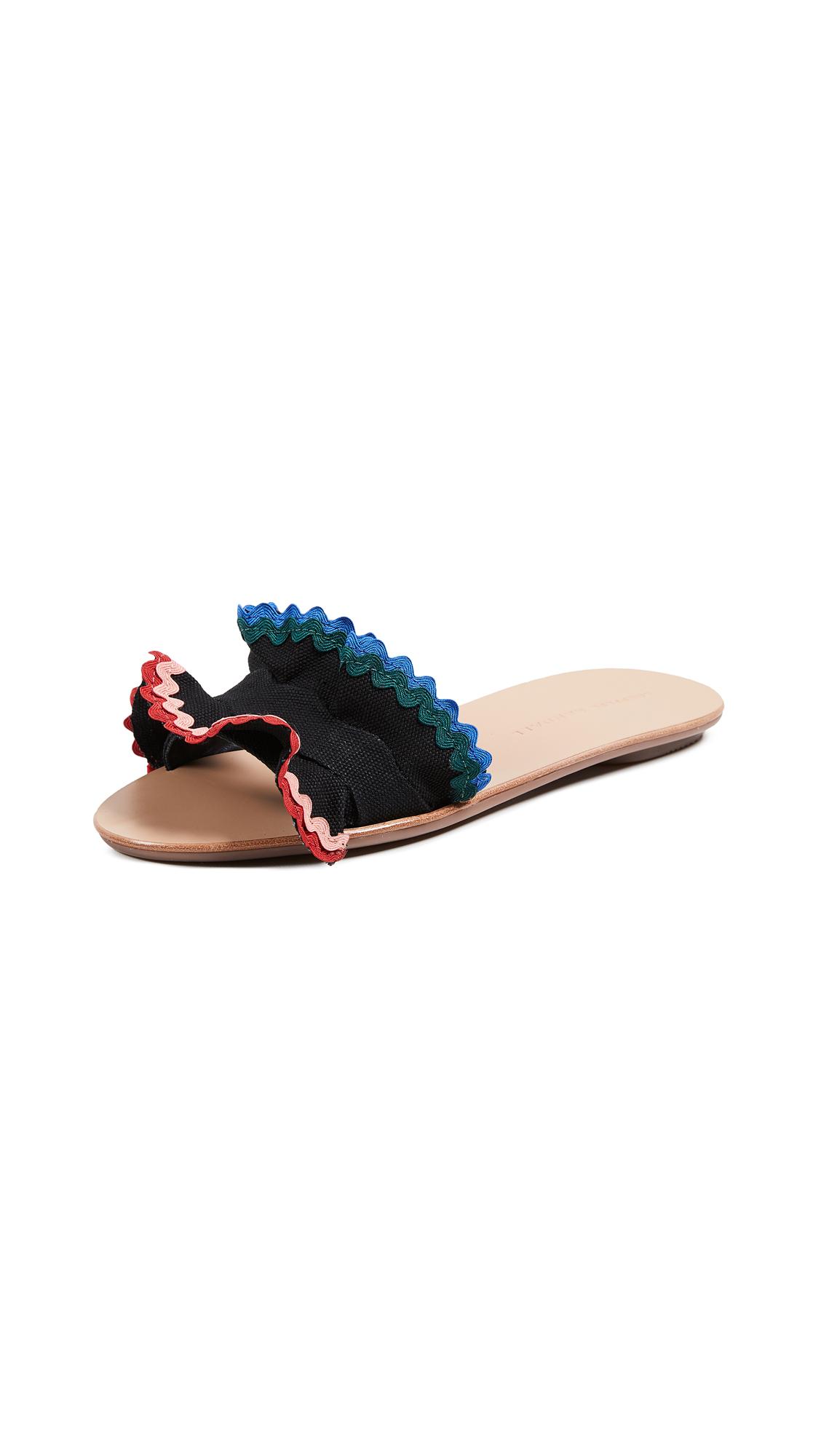 Loeffler Randall Birdie Ruffle Slides - Black/Multi
