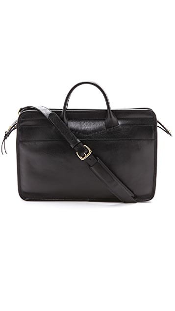 Lotuff Leather Slim Zipper Briefcase