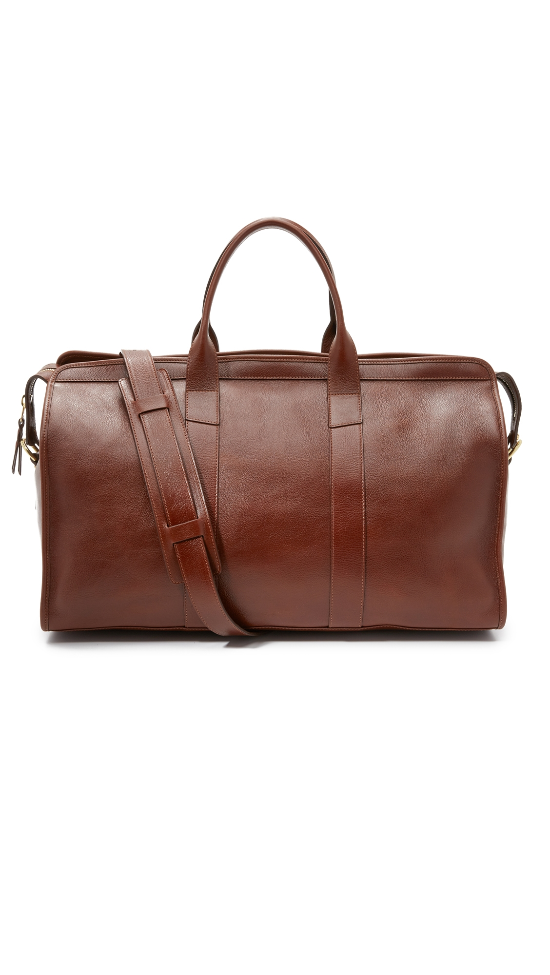 LOTUFF LEATHER Duffel Travel Bag With Pocket in Chestnut