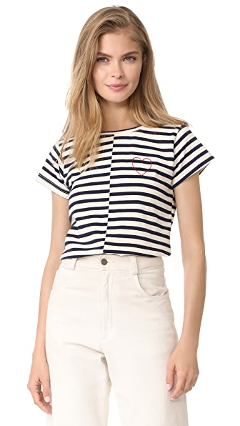 Loup Heart Embroidered Tee In Stripe