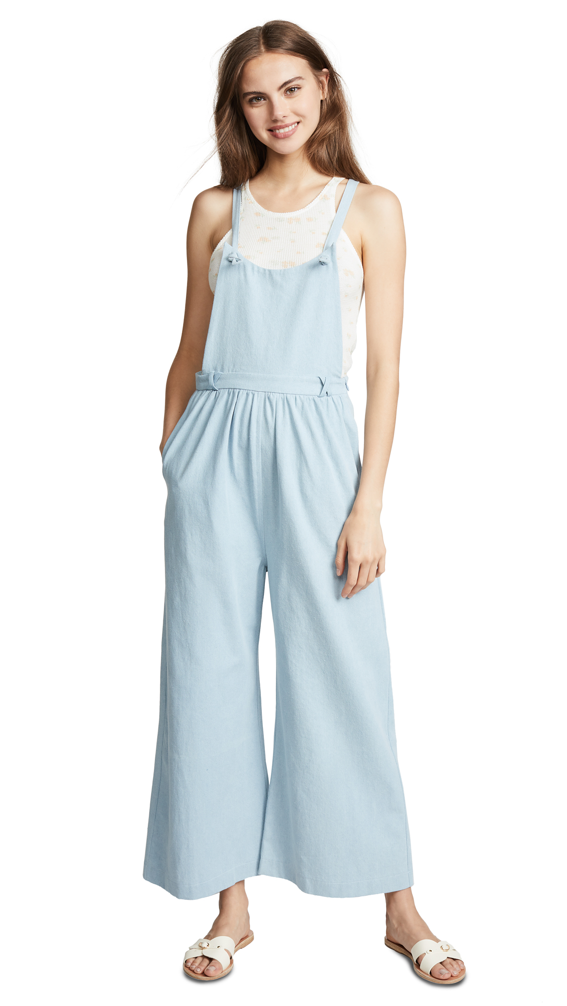Loup Kate Knot Overalls In Light Indigo