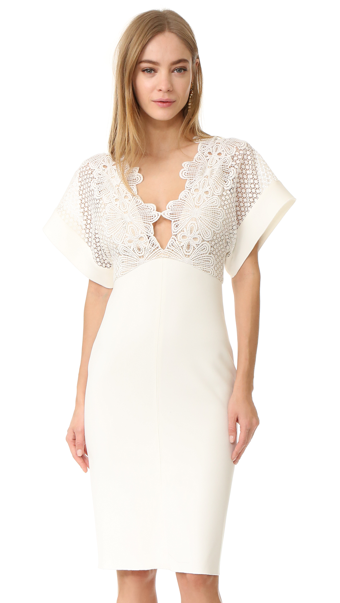 Lover Camelia Bonded Midi Dress - White