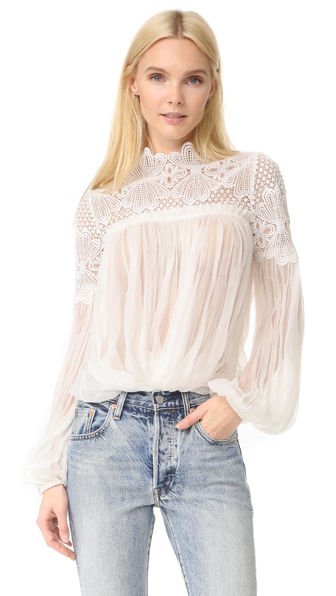Lover Camelia Silk Blouse - White