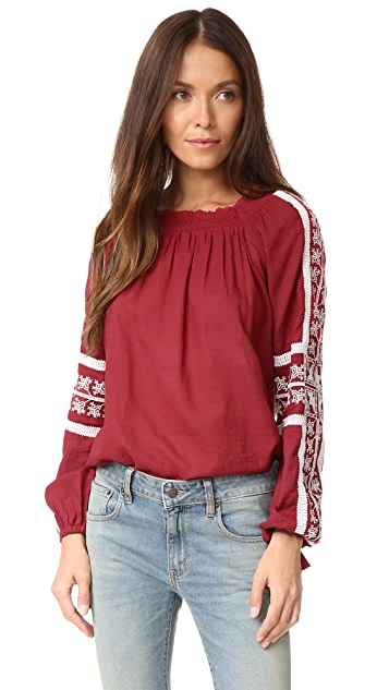 Love Sam Hungarian Peaches Embroidered Top