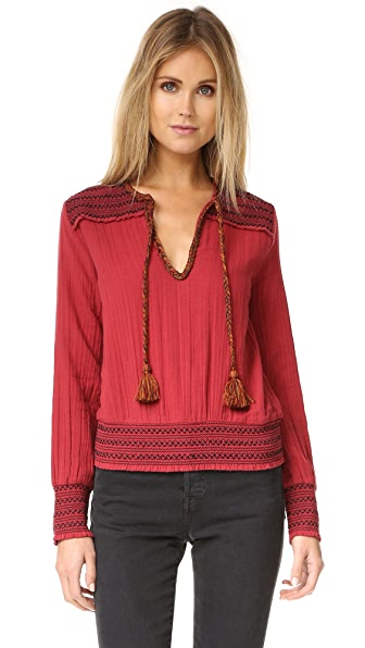 Love Sam Contrast Beaded Top