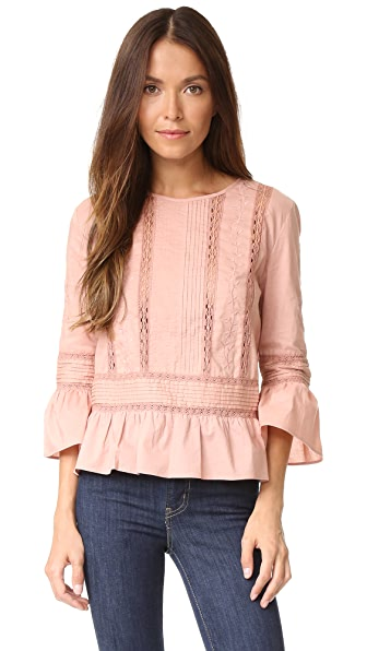 Love Sam Floral Threadwork Top - Dusty Rose