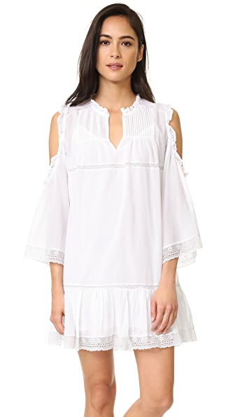 Love Sam Cold Shoulder Pintuck Dress - Swan