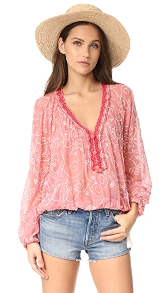 Love Sam Paisley Embroidered Peasant Blouse