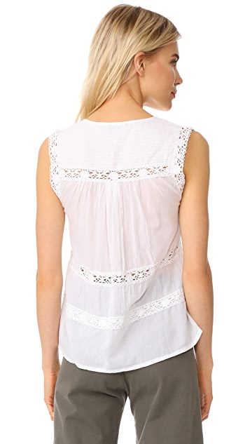 Love Sam Sleeveless Lace and Pintuck Blouse
