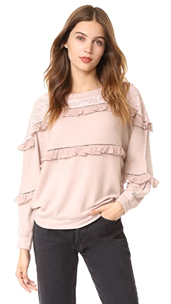 Love Sam Off Shoulder Ruffled Pullover In Rosewater