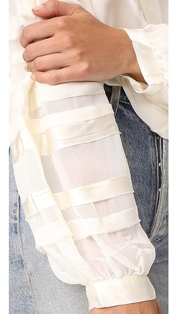 Love Sam Bias Strip Full Sleeve Blouse