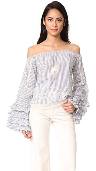 Love Sam Off the Shoulder Ruffle Sleeve Blouse In Blue White