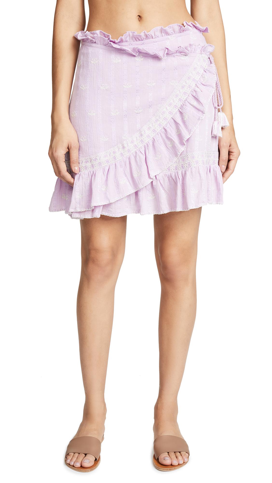LOVE SAM Ruffle-Trimmed Embroidered Cotton-Gauze Mini Wrap Skirt in Lavendula