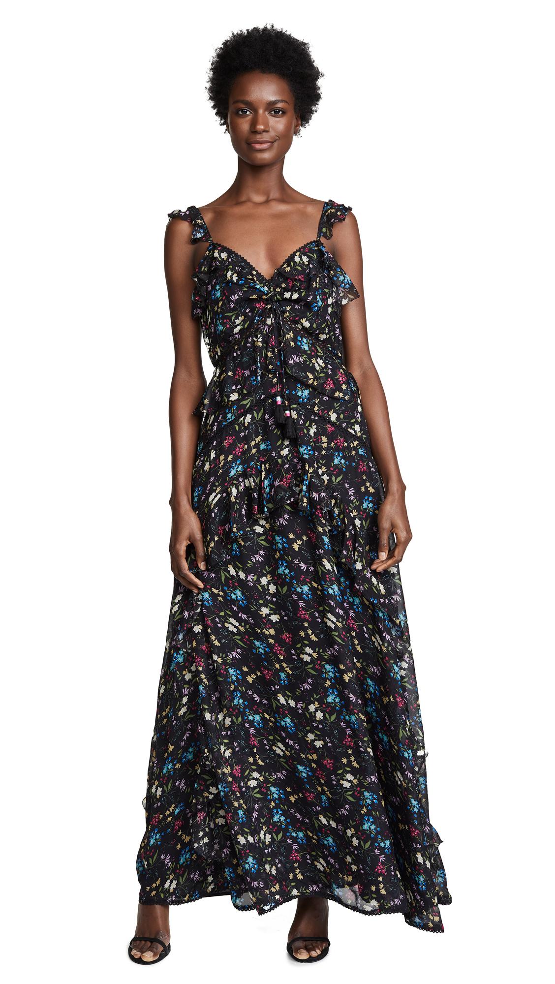 LOVE SAM Blossom Printed Maxi Dress in Black Floral