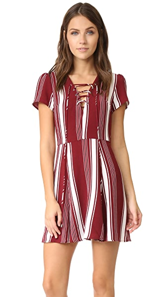 Lovers + Friends Compass Fit & Flare Dress - Cranberry Stripe