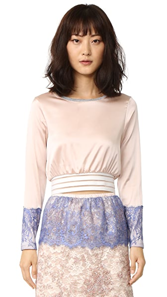 Loyd/Ford Crop Pullover with Lace - Blush