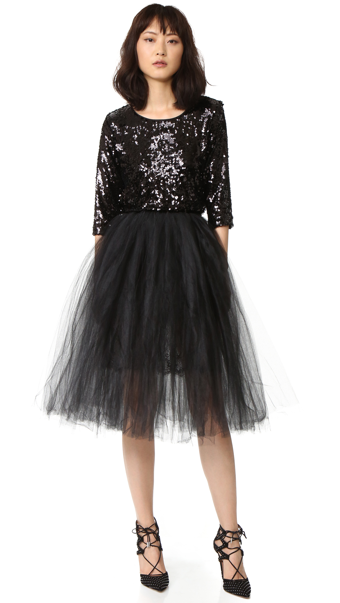 Loyd/Ford Sequin Dress With Tulle - Black