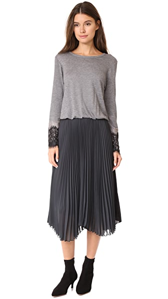 Loyd/Ford Long Sleeve Pleated Dress - Heather Grey