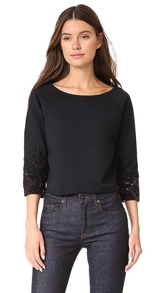 Loyd/Ford Crop Beaded Cuff Sweater In Black