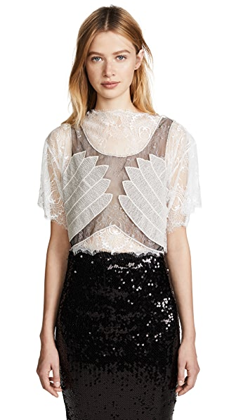 Loyd/Ford Lace Crop Top In White/Grey