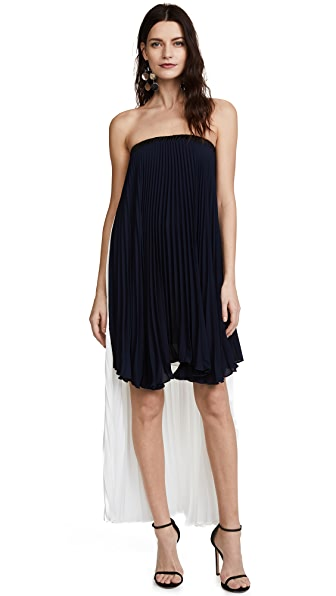 Loyd/Ford Strapless High Low Dress In Navy/White
