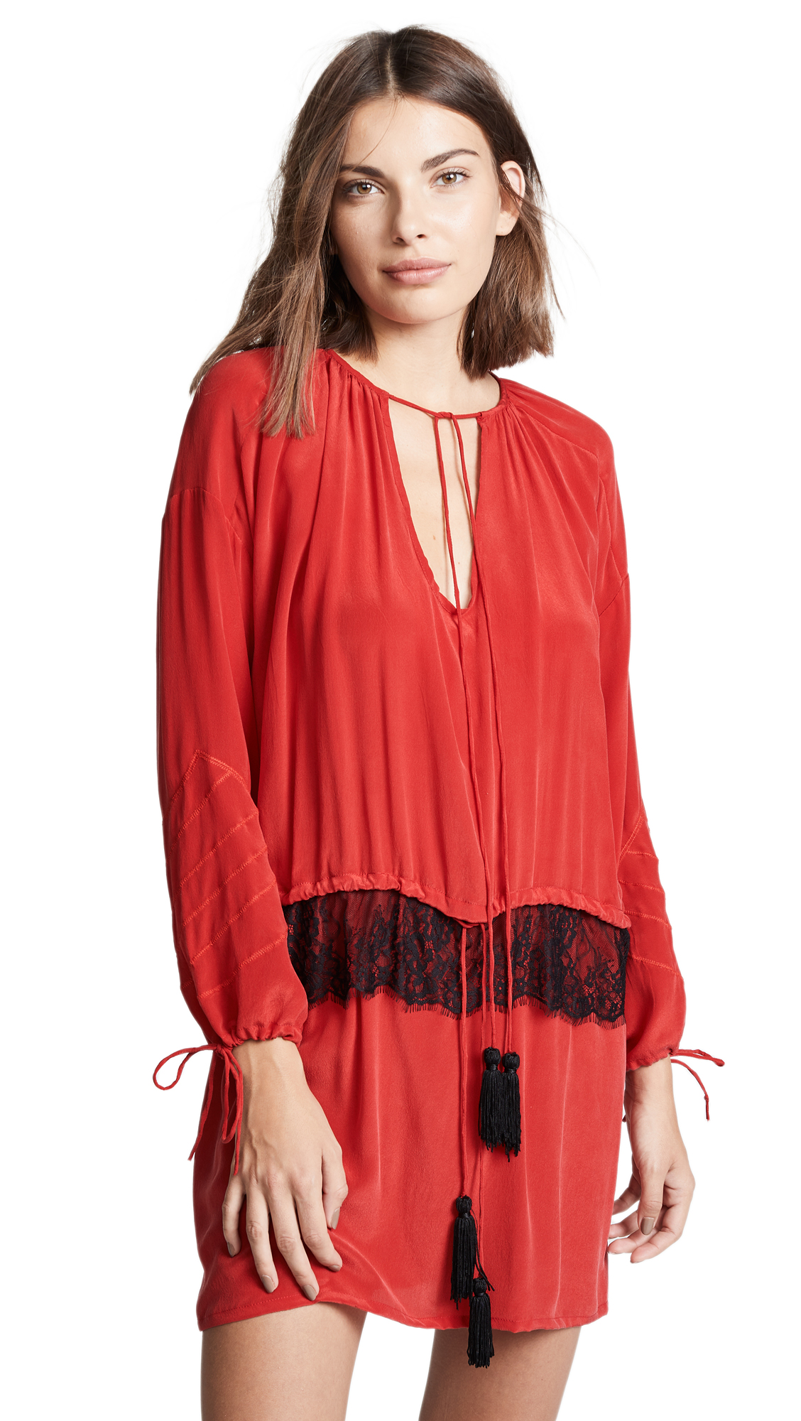 LOYD/FORD Silk Georgette Dress in Solid Red
