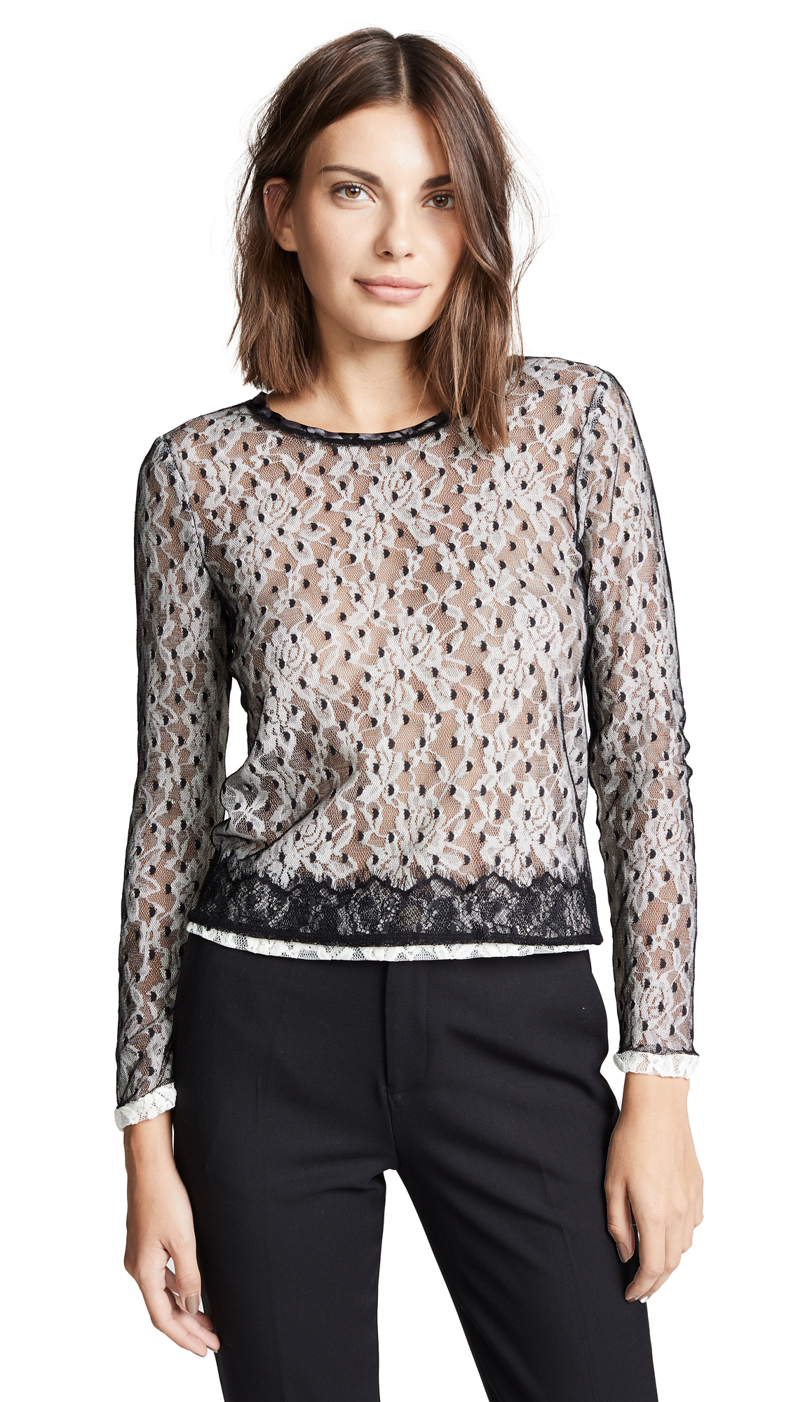 LOYD/FORD Multi Layer Dot Mesh Top in Black