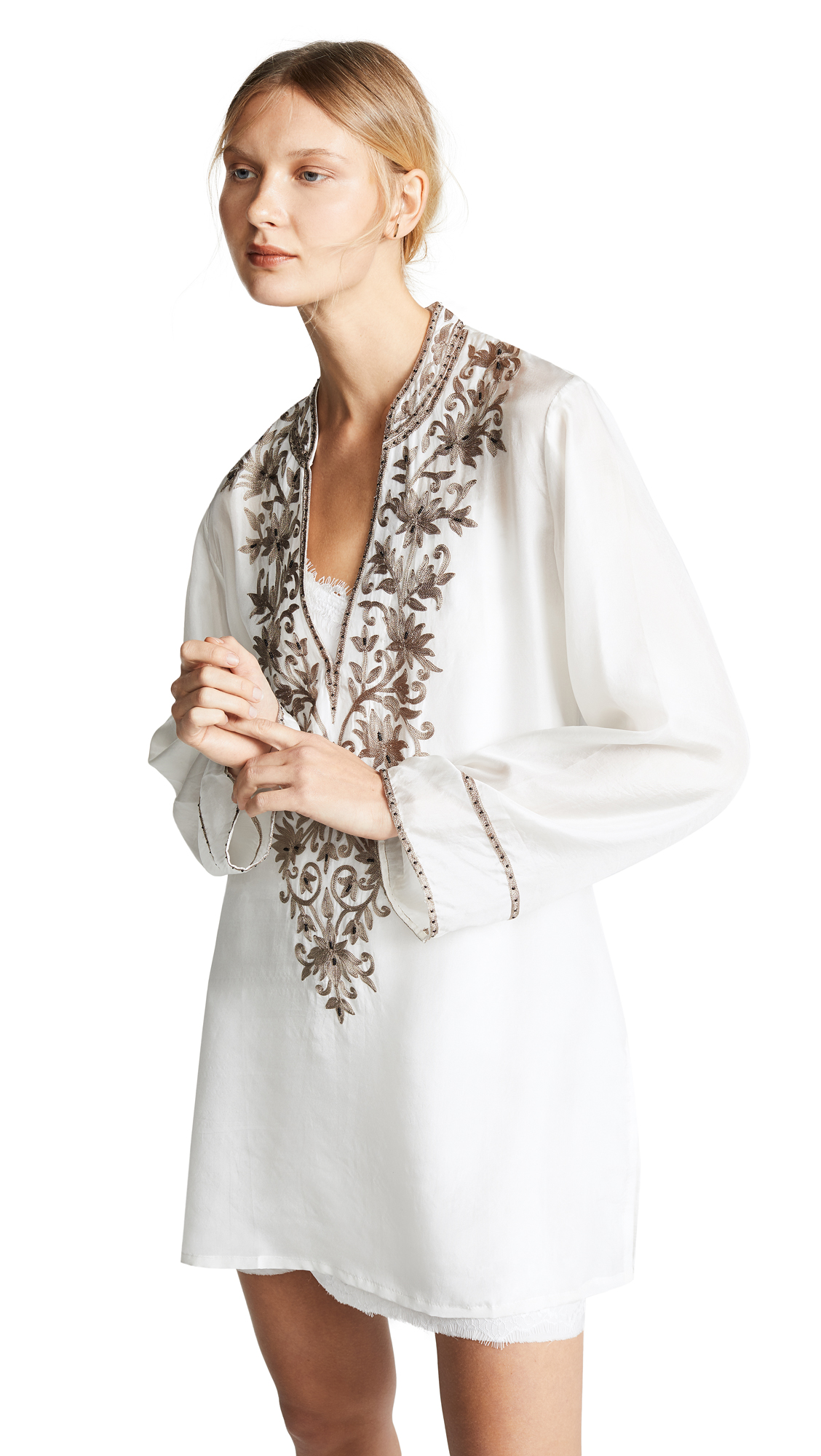 LOYD/FORD Hand Embroidered Tunic Dress in Ivory