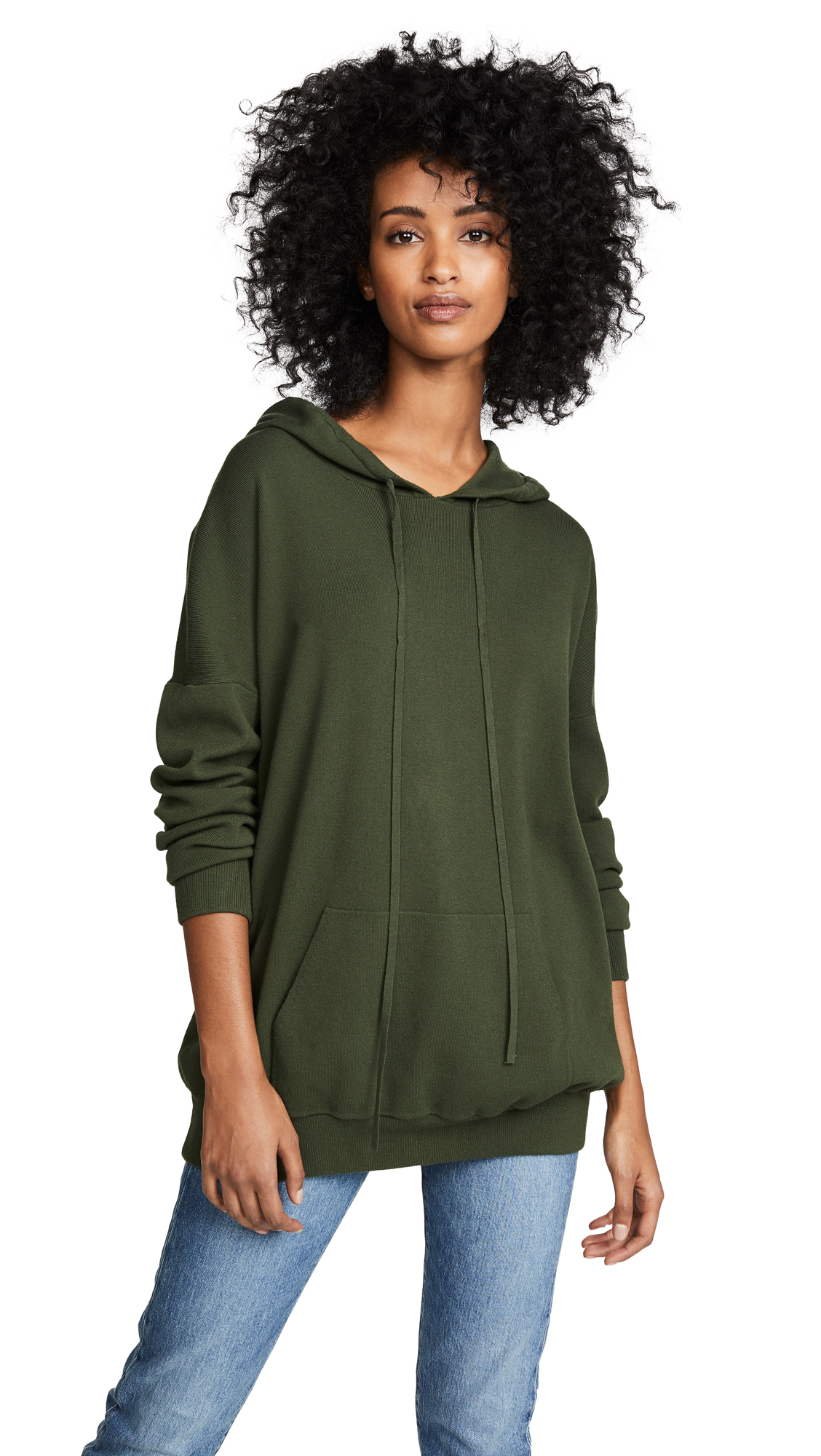 LIVE THE PROCESS Oversized Knit Hoodie in Duffel Bag Green