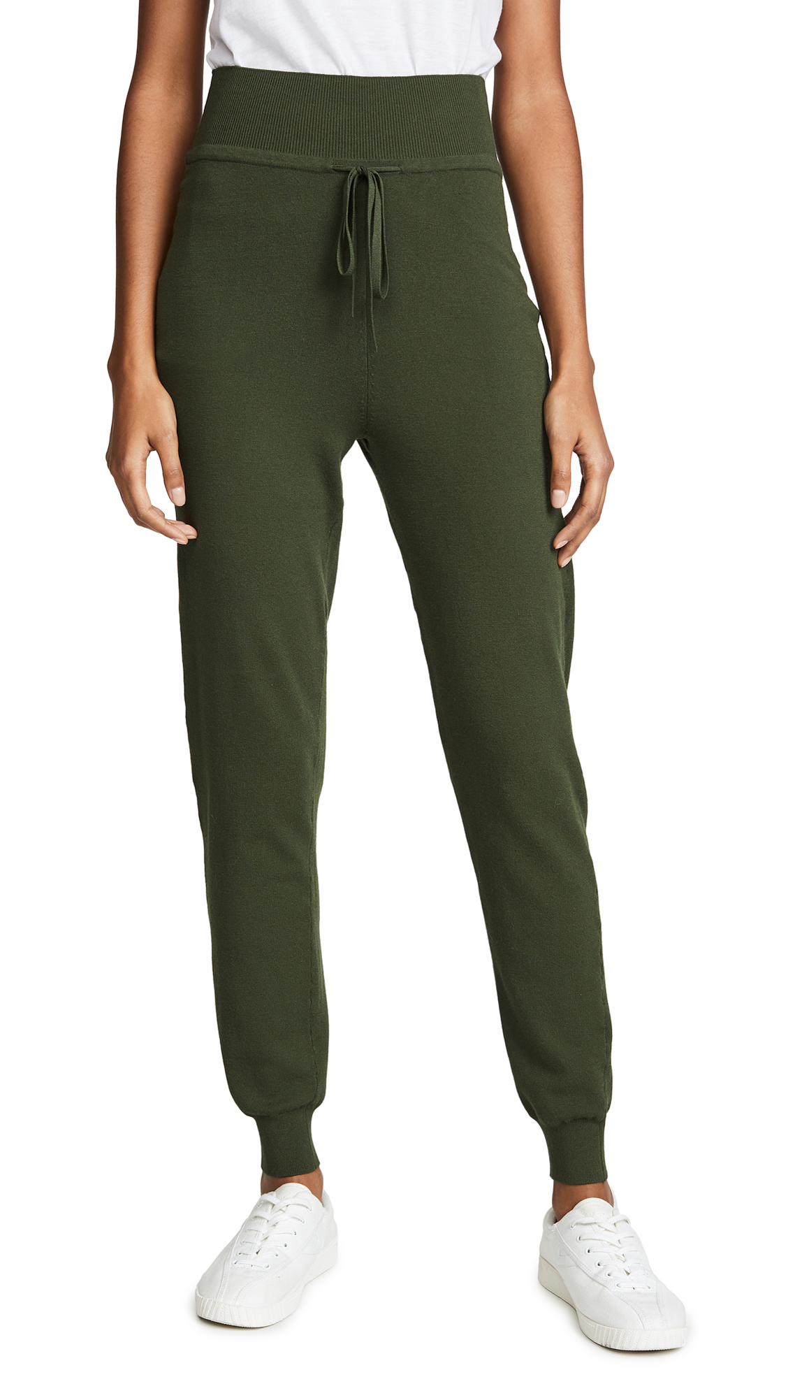 LIVE THE PROCESS Knit High-Waisted Pants in Duffel Bag Green